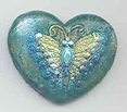 Polymer Clay Butterfly Heart Bead