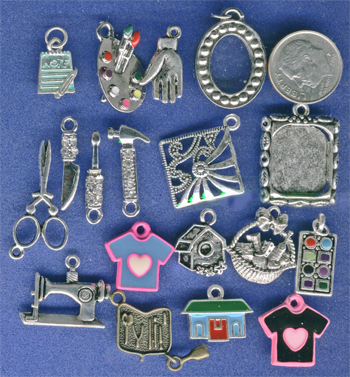 painting charms, tools, sewing, decorating, crafting charms