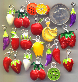 fruit charms, peppers, strawberry, tomato, orange, bananna, radish charms, garden charms
