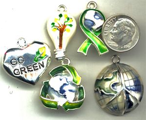 recycling charms, green charms, environmental charm
