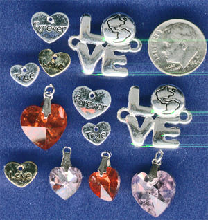 love charms, heart charms, true love charms
