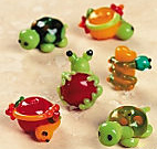 glass lampwork frogs and turtle beads