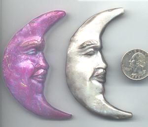Polymer Clay Crescent Moonface Bead
