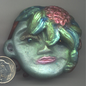 Polymer Clay Face with Flowers
