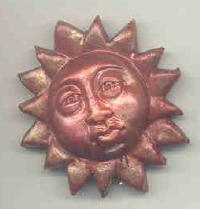 Polymer Clay Pouting Sun face Bead