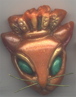 olymer Clay Cat with Crown Bead